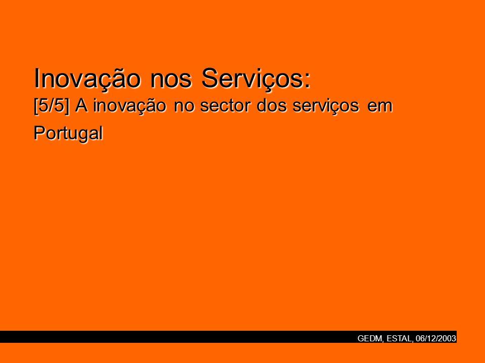 Inovação nos Serviços: [5/5] A inovação no sector dos serviços em Portugal